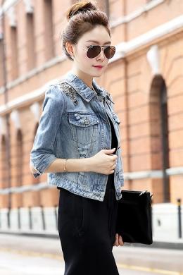 2014秋装新款韩版女装修身显瘦短款破洞牛仔外套镶钻牛仔上衣女