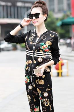 2014新款早秋套装女装韩版修身印花休闲运动套装女长袖卫衣两件套