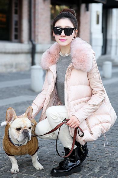 衣饰馨语2014冬装新款潮韩版女装a字型羽绒服女连帽毛领斗篷加厚羽绒外套