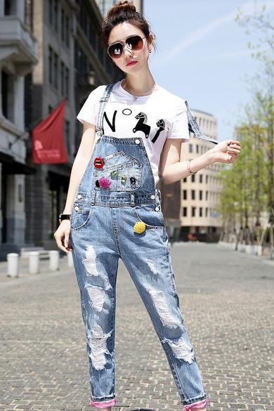 衣饰馨语2015夏装新款女装韩版破洞做旧背带裤亲子装九分牛仔裤