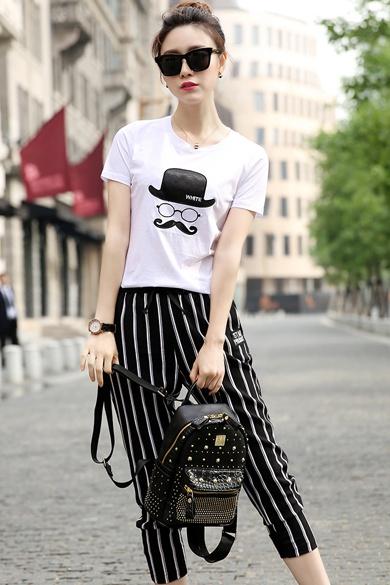 5夏季新品女士套装短袖T恤竖条纹七分裤两件套 促