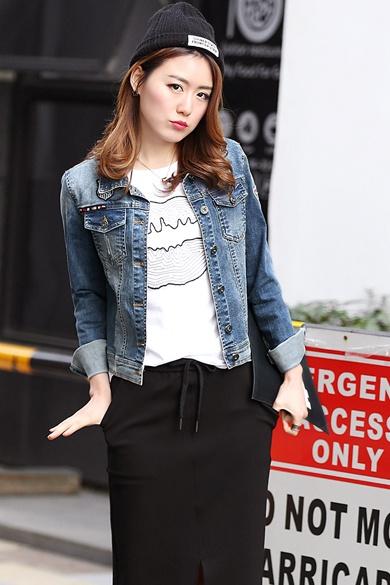 衣饰馨语2016春装新款女士牛仔上衣韩版修身显瘦牛仔短外套(促)