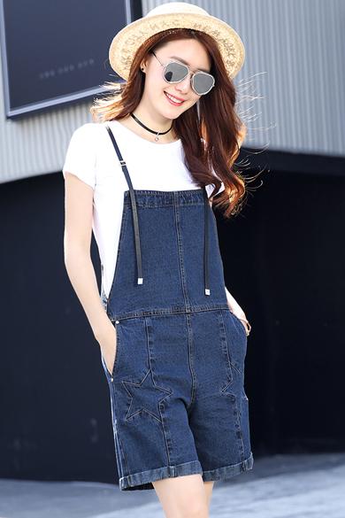 衣饰馨语2016夏亲子母女装T恤背带裤套装时尚五角星图案牛仔连体短裤两件套