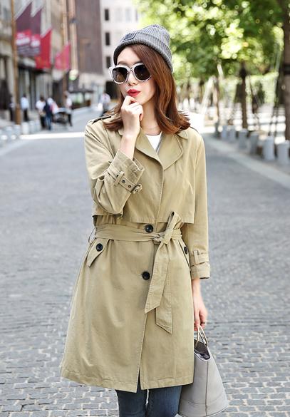 衣饰馨语2016秋季新款女士大衣韩版中长款纯色九分袖西装领风衣外套