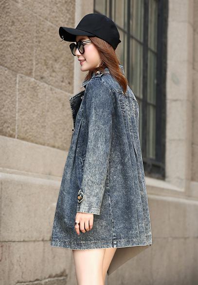 衣饰馨语2016秋季新款女装中长款长袖斗篷牛仔外套韩版双排扣时尚风衣潮