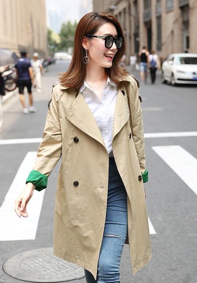 衣饰馨语韩版中长款双排扣西