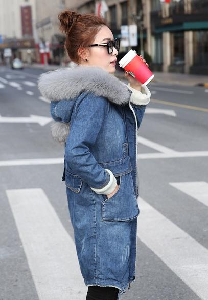 衣饰馨语2016冬季新款韩版中长款连帽牛仔棉衣女狐狸毛大毛领仿羊羔毛牛仔棉外套