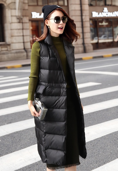 衣饰馨语2016冬季新品女士保暖白鸭绒马甲韩版中长款西装领双排扣时尚无袖羽绒马夹