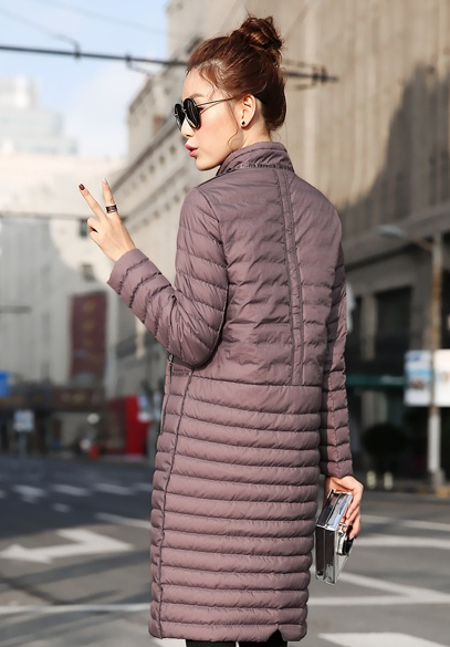 衣饰馨语2016冬装新款休闲羽绒衣韩版女士中长款修身显瘦简约时尚轻薄白鸭绒羽绒服