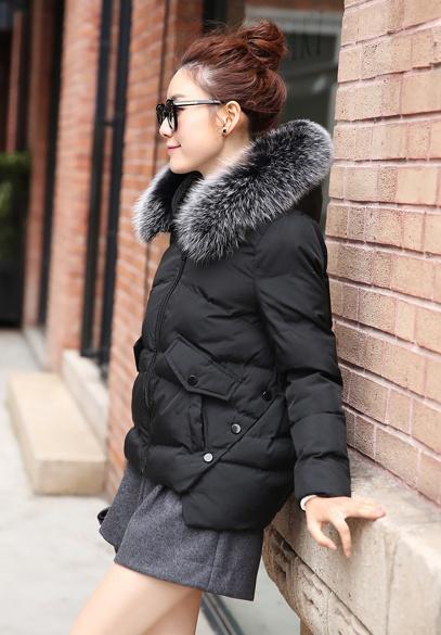 衣饰馨语2016冬装新款韩版不规则下摆连帽棉衣女韩版斗篷显瘦大毛领棉服外套