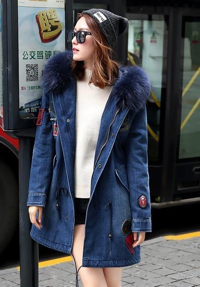 衣饰馨语2016冬季新款韩版中长款加厚牛仔棉衣女大毛领带图章连帽牛仔棉服外套潮