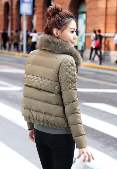 衣饰馨语2016冬装新款女装带毛领羽绒服韩版双排扣小版时尚羽绒衣短外套