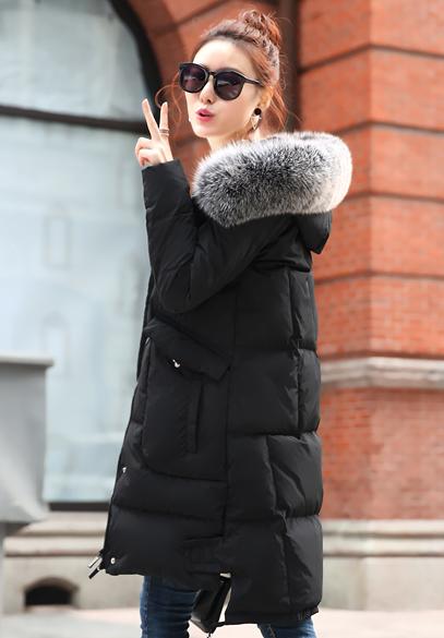 衣饰馨语2016冬季新款韩版中长款修身显瘦连帽加厚保暖羽绒服女大毛领休闲羽绒外套
