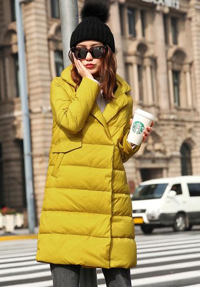 衣饰馨语2016冬装新款韩版中长款白鸭绒羽绒服女西装领修身显瘦羽绒衣外套