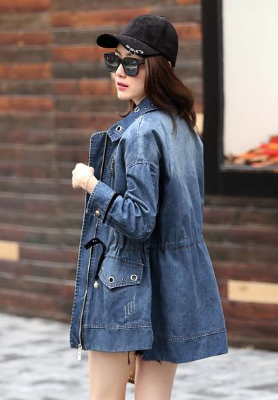 衣饰馨语2017春季新款女士翻领收腰牛仔衣欧洲站休闲宽松牛仔外套潮