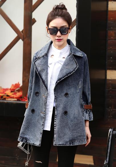 衣饰馨语2017春季新品女士牛仔上衣欧洲站双排扣西装领宽松牛仔外套