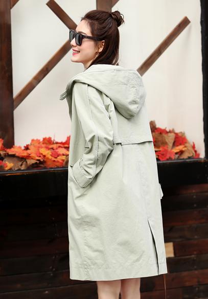 衣饰馨语2017春季新款女士中长款休闲大衣韩版时尚宽松连帽风衣