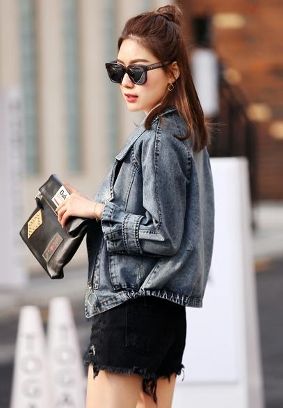 衣饰馨语2017春季新款欧洲站宽松牛仔上衣西装领牛仔夹克短外套潮