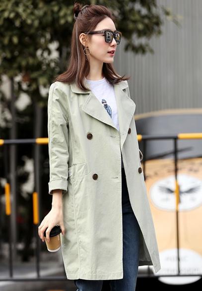 衣饰馨语2017春装新款韩版中长款双排扣女士风衣西装领气质宽松女外套