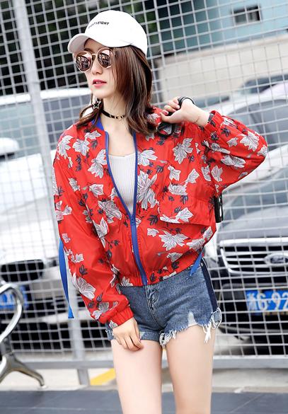 衣饰馨语2017夏季韩版蝙蝠袖防晒衣女宽松百搭印花防晒服薄款短外套