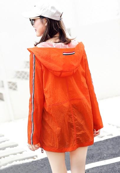 衣饰馨语2017夏季新款韩版中长款防晒衣女宽松百搭长袖连帽防晒服薄外套