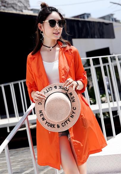 衣饰馨语2017夏装新款女士中长款西装领宽松透气防晒衣百搭皮肤衣薄外套潮