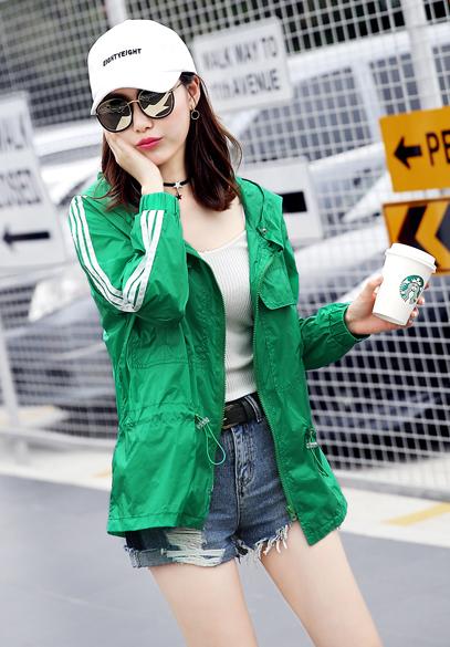 衣饰馨语2017夏装韩版中长款长袖连帽防紫外线防晒衣防晒服女薄款皮肤衣外套
