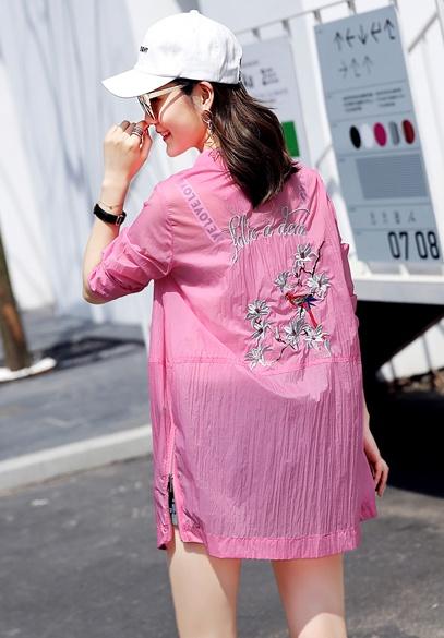 衣饰馨语2017夏装新款女装棒球服韩版中长款圆领长袖宽松刺绣防晒衣薄外套