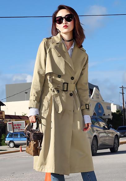 衣饰馨语2017秋季新款韩版中长款过膝风衣女装双排扣西装领休闲外套