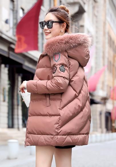衣饰馨语韩版中长款休闲棉衣女2016冬季新品连帽大毛领加厚保暖棉服外套
