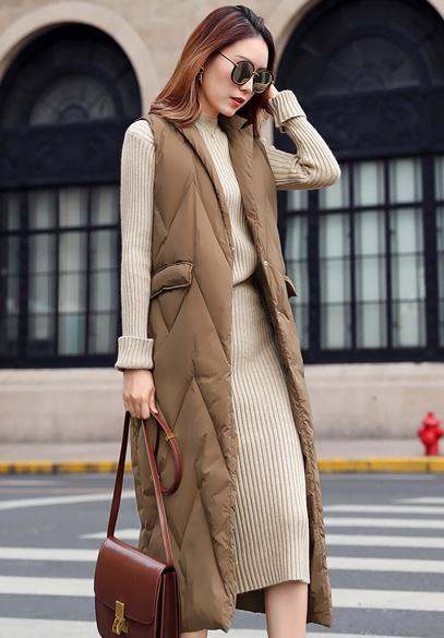 衣饰馨语2017冬新款长款过膝保暖羽绒马夹韩版时尚显瘦纯色白鸭绒马甲外套