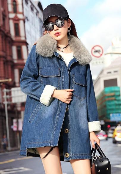 衣饰馨语2017冬装新款中长款宽松牛仔棉服女加绒加厚大毛领棉衣外套潮
