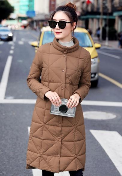 衣饰馨语2017初冬新款韩版立领轻薄羽绒服女中长款修身显瘦休闲羽绒衣外套