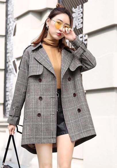 衣饰馨语2017秋装新款韩版中长款双排扣女装西服时尚气质百搭格子西装外套