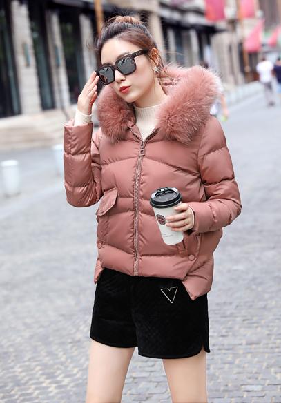 衣饰馨语2016冬装新款韩版不规则下摆连帽棉衣女斗篷显瘦大毛领棉服外套