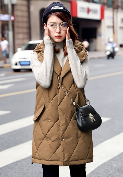 衣饰馨语2017冬季新款韩版中长款修身显瘦连帽棉马甲女士背心马夹外套潮