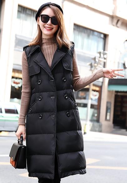 衣饰馨语2017冬装新款中长款修身羽绒马夹女韩版纯色西装领双排扣马甲外套