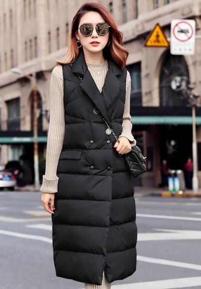 衣饰馨语2017冬季新款韩版中长款茧型羽绒马夹女时尚显瘦白鸭绒马甲外套潮