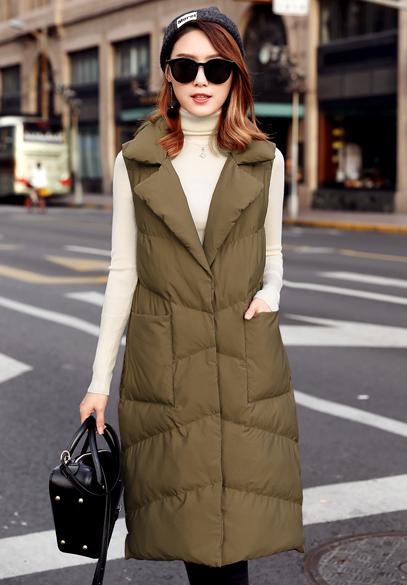 衣饰馨语2017冬装新款加厚保暖棉马夹女韩版中长款直筒纯色大口袋马甲外套