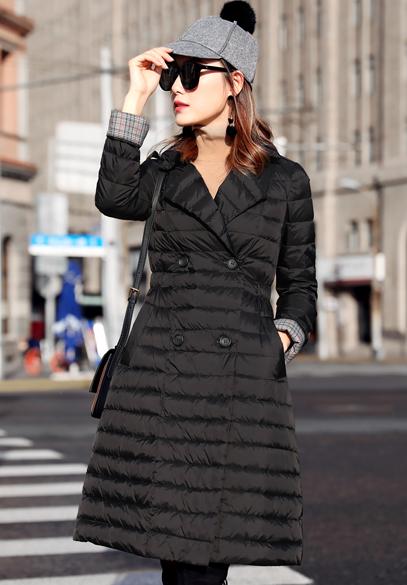 衣饰馨语2017秋冬新款薄款羽绒服女韩版中长款西装领收腰显瘦气质羽绒衣