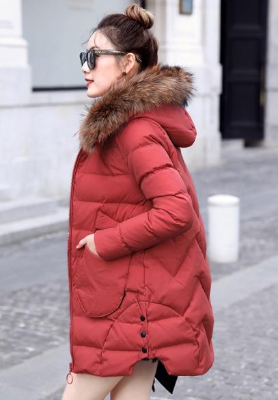 衣饰馨语2017冬季新款韩版中长款修身显瘦加厚保暖女士棉衣大毛领连帽棉服外套