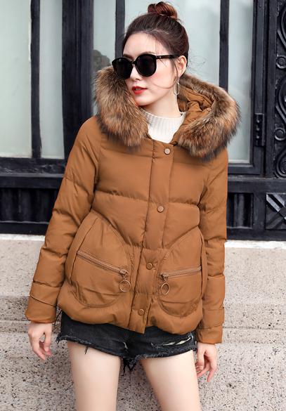 衣饰馨语2017冬季新款女士棉衣韩版大毛领加厚连帽保暖时尚棉服短外套