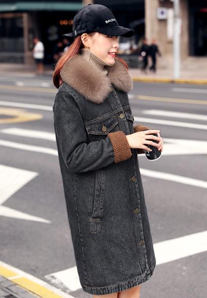 衣饰馨语2017冬新款韩版中长款加绒加厚牛仔棉衣女大毛领保暖牛仔棉服外套