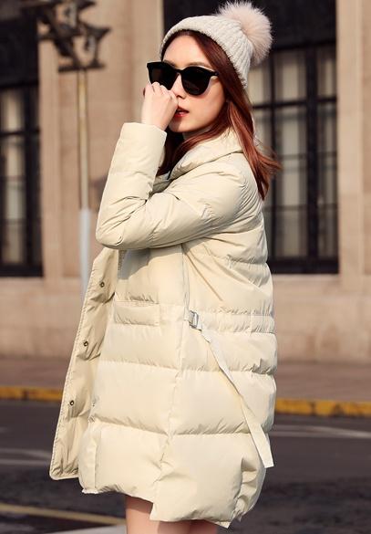 衣饰馨语2017冬装新款女装韩版中长款西装领羽绒服加厚保暖羽绒衣外套