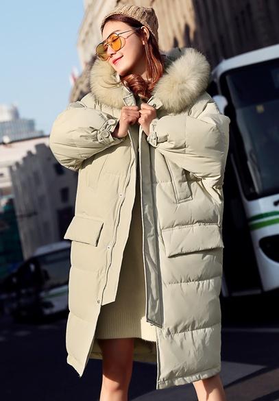 衣饰馨语2017冬季新款宽松加厚保暖连帽羽绒服女长款过膝大毛领羽绒衣外套