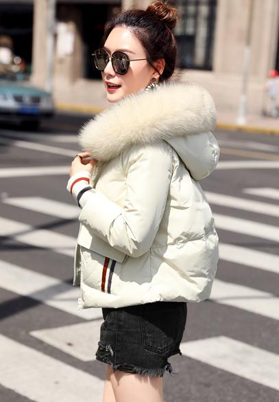 衣饰馨语2017冬季新款短款大毛领连帽小版羽绒衣女螺纹袖口拼接羽绒服外套