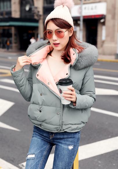 衣饰馨语2017冬季新款大毛领连帽面包服羽绒服女韩版短款白鸭绒羽绒衣外套