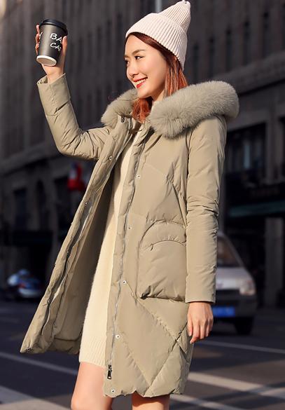 衣饰馨语2017冬季新款韩版中长款狐狸毛领羽绒服女加厚保暖连帽羽绒衣外套