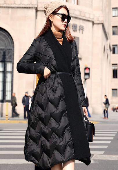 衣饰馨语2017冬季新款长款过膝加厚A字型气质名媛针织拼接女士羽绒服外套