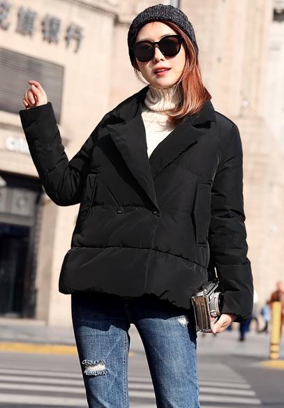 衣饰馨语2017冬季新款短款韩版西装领A字斗篷羽绒服女休闲羽绒衣外套